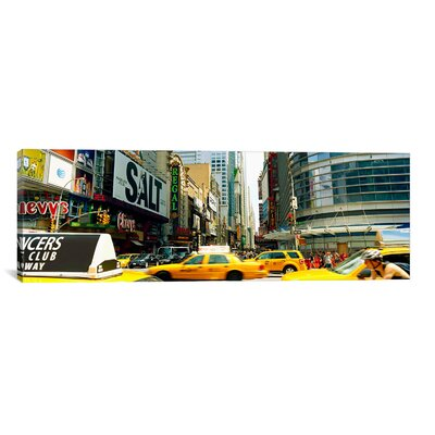 Panoramic Traffic in a City, 42nd Street, Eighth Avenue, Times Square, Manhattan, New York City Photographic Print on Canvas Size: 16