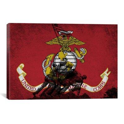 Flags U.S. Marine Iwo Jimo War Memorial Grunge Graphic Art on Canvas Size: 12
