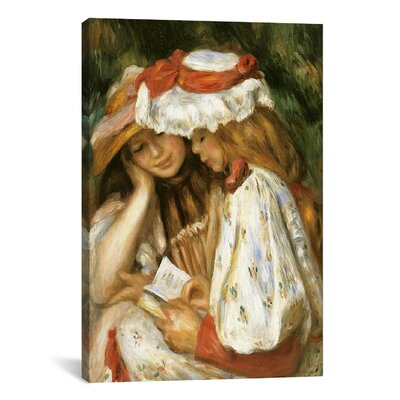 """iCanvasART 'Two Girls Reading' by Claude Monet Painting Print on Canvas - Size: 26"""" H x 18"""" W x 1.5"""" D at Sears.com"""