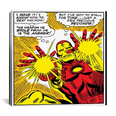 Marvel Comics Book Iron Man Panel Art B Graphic Art on Wrapped Canvas MRV98-1PC3-18X18