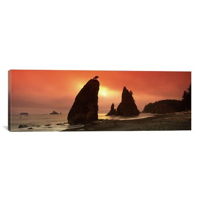 Panoramic Silhouette of Seastacks at Sunset, Olympic National Park, Washington State Photographic Print on Canvas Size: 30