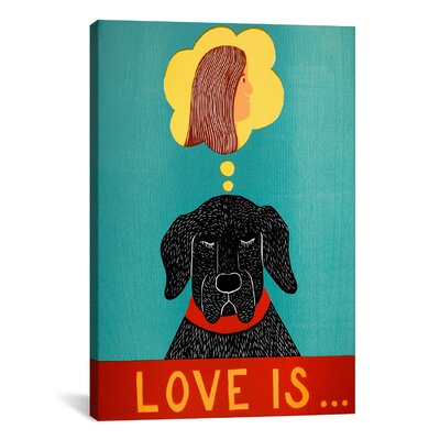 Love Is Dog Girl Black by Stephen Huneck Painting Print on Wrapped Canvas STH69-1PC3-40X26