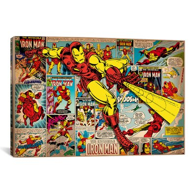 Marvel Comics Iron Man on Iron Man Cover and Panel Graphic Art on Wrapped Canvas MRV252-1PC6-61X41