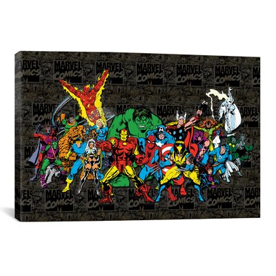 Marvel Comics Character Lineup Comic Logo Graphic Art on Canvas Size: 26