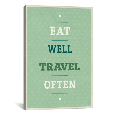 American Flat Eat Travel Textual Art on Canvas Size: 40