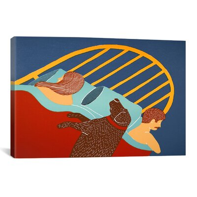 """Hogging the Bed Chocolate by Stephen Huneck Painting Print on Wrapped Canvas Size: 12"""" H x 18"""" W x 0.75"""" D STH47-1PC3-18X12"""