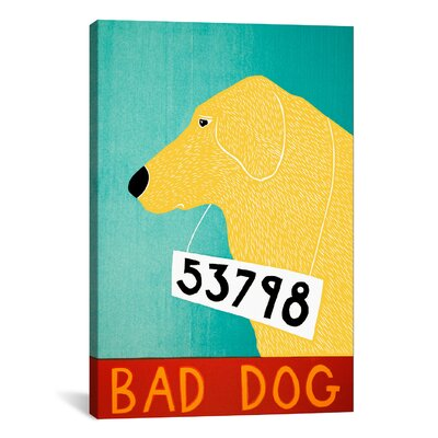 icanvas Stephen Huneck Bad Dog Yellow Canvas Print Wall Art - Size: 18