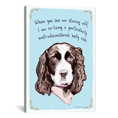 Tiny Confessions Springer Spaniels Love Belly Rubs Canvas Print Wall Art Size: 41