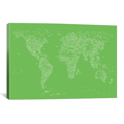 Font World Map by Michael Tompsett Graphic Art on Canvas in Light Green Size: 18