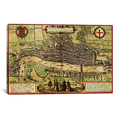 Antique Map of London (1572) by Georg Braun Graphic Art on Canvas in Color Size: 12