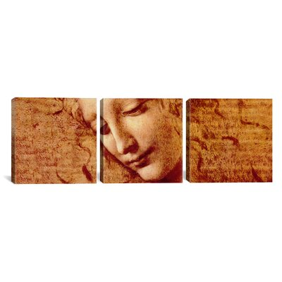 "Female Head by Leonardo da Vinci 3 Piece Painting Print on Wrapped Canvas Set Size: 12"" H x 36"" W x 0.75"" D 317PAN-3PC3-36x12"