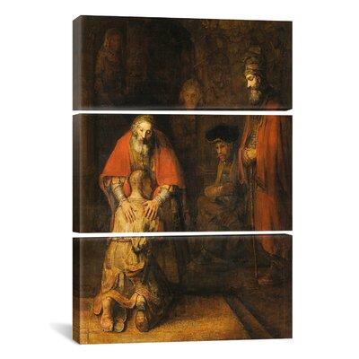 "Return of the Prodigal Son 1668-1669 Van Rijn by Rembrandt van Rijn 3 Piece Painting Print on Wrapped Canvas Set Size: 36"" H x 12"" W x 0.75"" D 1117-3PC3-60x40"