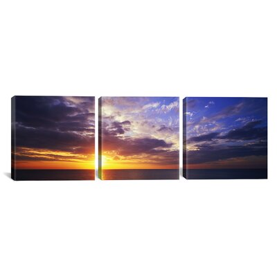 Photography Sunset Water, Ocean, Caribbean Island, Grand Cayman Island 3 Piece on Wrapped Canvas Set Size: 16