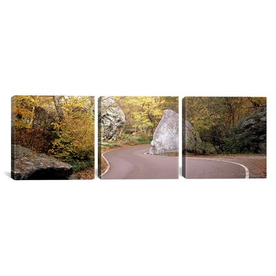 Photography Road Curving Around a Big , Lamoille County, Vermont, USA 3 Piece on Wrapped Canvas Set Size: 24