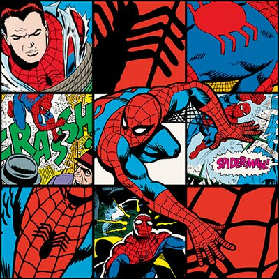 Marvel Comics Spider-Man Collage Poster Graphic Art on Canvas MRV1185-1PC3-12x12