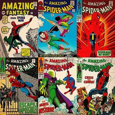 Marvel Comics Comics (Retro) - Book Spider-Man Comics Covers #3 Vintage Advertisement on Canvas MRV380-1PC6-18x18