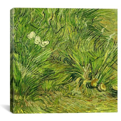 """Two White Butterflies"""" by Vincent Van Gogh Painting Print on Wrapped Canvas 14342-1PC3-12x12"""