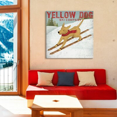 Dog Ski Co. by Ryan Fowler Graphic Art on Canvas in Yellow