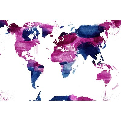 'Watercolor World' Painting Print on Wrapped Canvas Size: 18