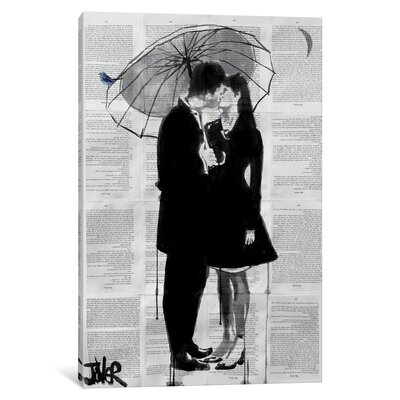 A Little Bird, A little Moon And A Little Love by Loui Jover Painting Print on Wrapped Canvas LJR40-1PC3-40x26