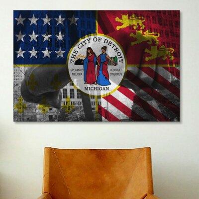 Detroit, Michigan Flag - Joe Louis Fist, Grunge Graphic Art on Canvas Size: 12