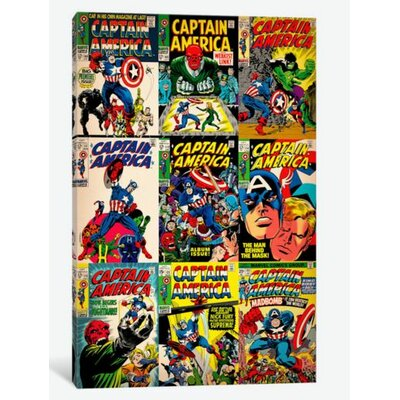 Marvel Comics (Retro) - Book Captain America Covers Vintage Advertisement on Canvas MRV368-1PC3-12x8