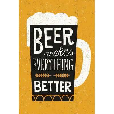'Craft Beer II' by Michael Mullan Textual Art on Wrapped Canvas Size: 26
