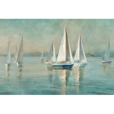 'Sailboats at Sunrise' by Danhui Nai Painting Print on Wrapped Canvas Size: 12