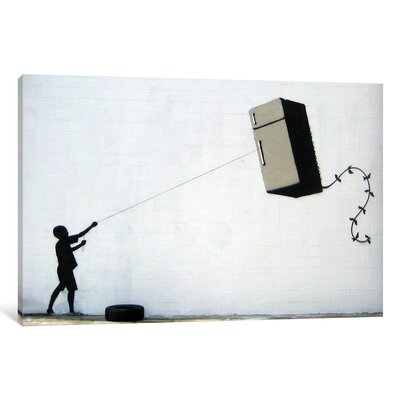 "Fridge Kite by Banksy Graphic Art on Wrapped Canvas Size: 8"" H x 12"" W x 0.75"" D"