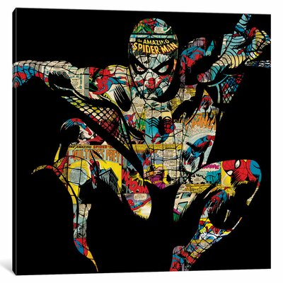 'Marvel Comics Retro Spider-Man' by Marvel Comics Graphic Art on Wrapped Canvas MRV1464-1PC3-12x12