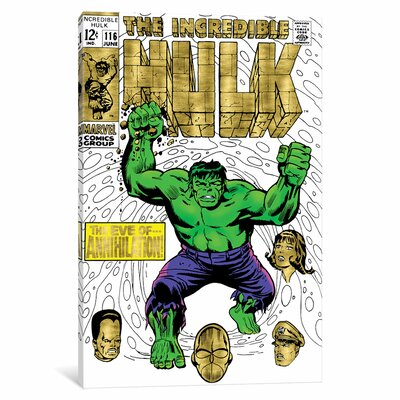 'Marvel Comics Retro The Incredible Hulk' by Marvel Comics Vintage Advertisement on Wrapped Canvas MRV1476-1PC3-12x8