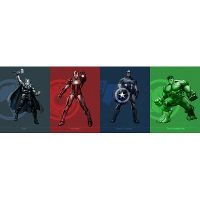 "'Avengers Assemble Classic Figure Art Over Badge' by Marvel Comics Graphic Art on Wrapped Canvas Size: 20"" H x 60"" W x 0.75"" D MRV1508-1PC3-60x20"