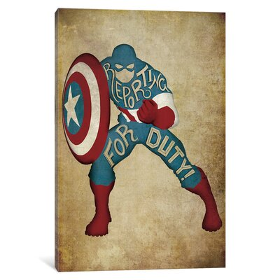 'Avengers Assemble Captain America Vintage' by Marvel Comics Textual Art on Wrapped Canvas MRV1524-1PC3-12x8