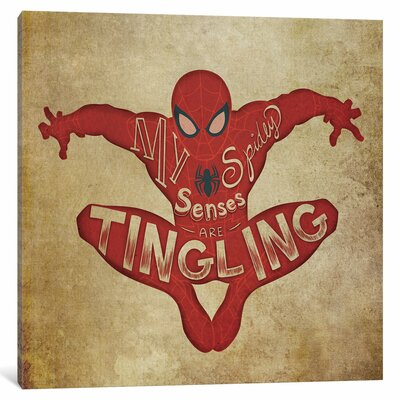 'Ultimate Spider-Man: Spider-Man Vintage' by Marvel Comics Textual Art on Wrapped Canvas MRV1527-1PC3-12x12