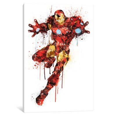 'Avengers Assemble Iron Man Watercolor' by Marvel Comics Painting Print on Wrapped Canvas MRV1531-1PC3-12x8