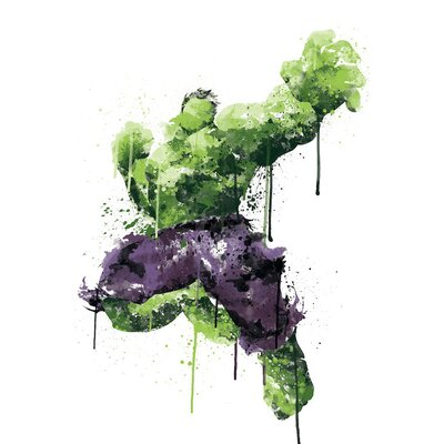 'Avengers Assemble Hulk Watercolor' by Marvel Comics Painting Print on Wrapped Canvas MRV1530-1PC3-12x8