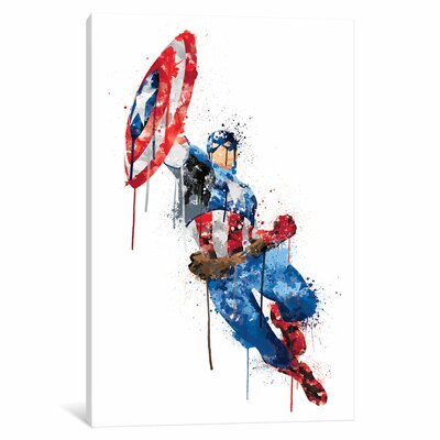'Avengers Assemble Captain America Watercolor' by Marvel Comics Painting Print on Wrapped Canvas MRV1529-1PC3-12x8