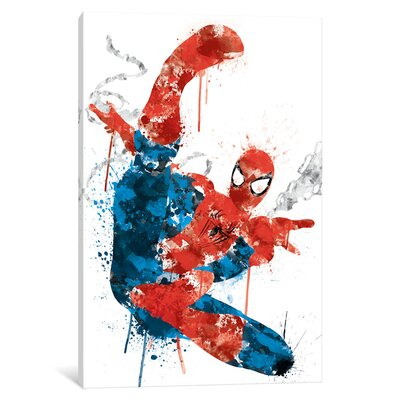 "'Ultimate Spider-Man Watercolor' by Marvel Comics Painting Print on Wrapped Canvas Size: 18"" H x 12"" W x 1.5"" D MRV1532-1PC6-18x12"