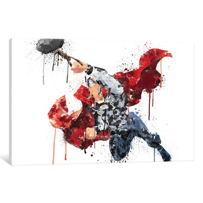 'Avengers Assemble Thor Watercolor' by Marvel Comics Painting Print on Wrapped Canvas MRV1533-1PC3-12x8
