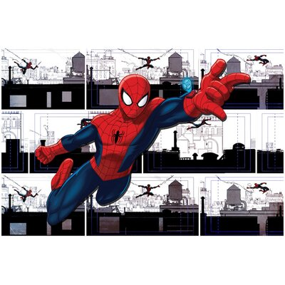 'Marvel Ultimate Spider-Man Swinging' by Marvel Comics Graphic Art on Wrapped Canvas MRV860-1PC3-12x8