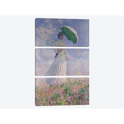 'Woman with a Parasol turned to the Right, 1886' by Claude Monet Print Multi-Piece Image on Canvas BMN999-3PC3-60x40