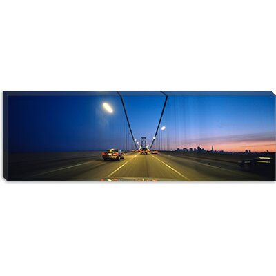 "iCanvasART Cars on a Suspension Bridge, Bay Bridge, San Francisco, California Canvas Wall Art -Configuration:1 Panel, Size:24"" Hx72"" Wx1.5"" at Sears.com"