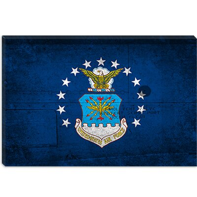 "icanvas Air-Force Flag, Metal Rivet Graphic Art on Canvas - Size: 8"" H x 12"" W x 0.75"" D"