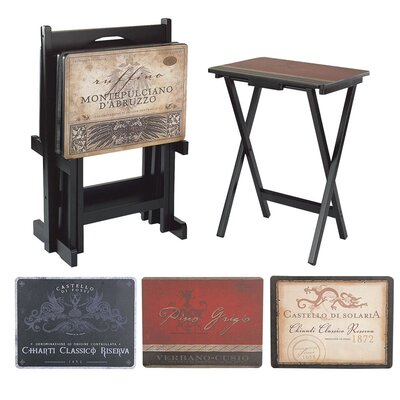 Tuscan Wine Labels TV Tray with Stand