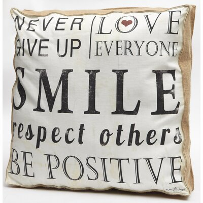 Never Give Up Word Throw Pillow