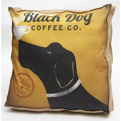 Black Dog Coffee Co Throw Pillow