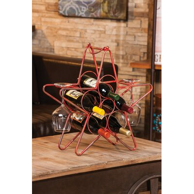 Rustic Star 5 Bottle Tabletop Wine Rack