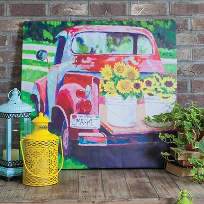 Red Truck Outdoor By Laurie Richardson Painting Print On Canvas