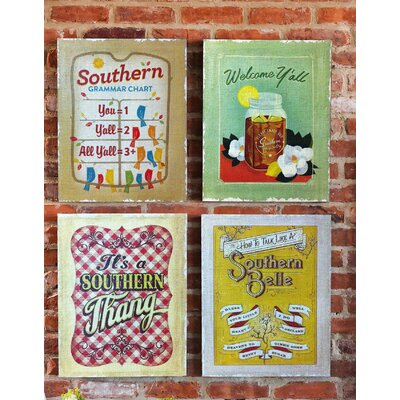 Southern Charm Burplap By Anderson Design Group 4 Piece Graphic Art On Canvas Set