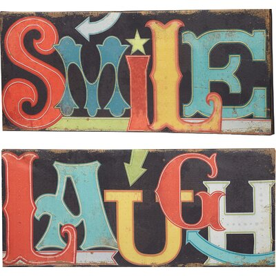 Smile And Laugh Light Up Led Indoor By Pela Studio 2 Piece Textual Art On Canvas Set
